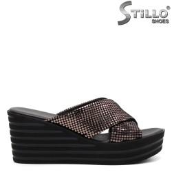 Papuci dama pe platforma din piele ecologica - 33293
