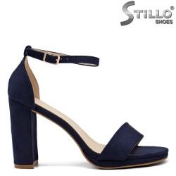 Sandale dama din velur de culoare albastru pe platforma  - 33294