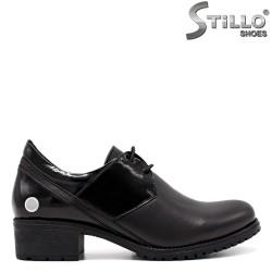 Pantofi dama din piele naturala si lac de culoare negru - 33351