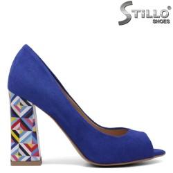 Pantofi dama din velur de culoare turcoaz si cu toc inalt - 33354