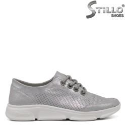 Pantofi dama tip sport de culoare gri cu sireturi - 33409