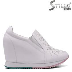 Pantofi dama sport din piele naturala de culoare alb si cu platforma - 33456