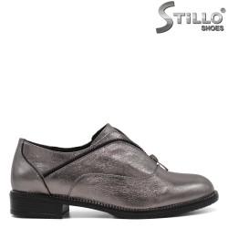 Pantofi dama argintii cu toc jos - 33461