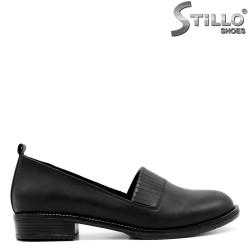 Pantofi dama din piele naturala de culoare negru si cu franjuri - 33462
