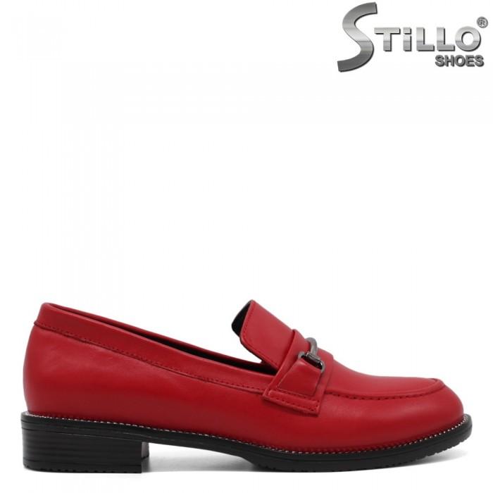 Pantofi dama mocasini din piele naturala de culoare rosu - 33464