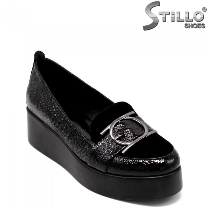 Pantofi dama din lac si velur - 33474