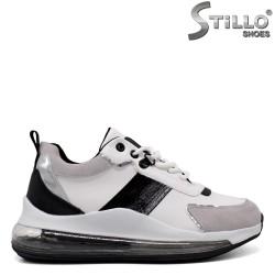 Pantofi dama sport de culoare alb si gri - 33482