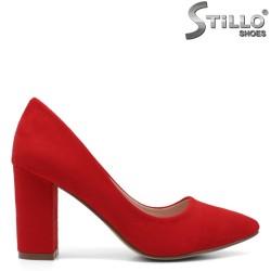Pantofi dama din velur de culoare rosu cu toc inalt - 33484
