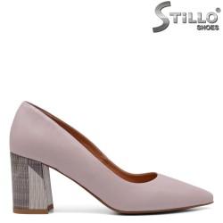 Pantofi dama din piele naturala de culoare pudra - 33492