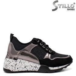 Pantofi dama sport din velur de culoare negru si metalic - 33500