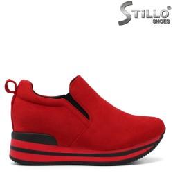 Pantofi dama sport din velur de culoare rosu - 33510