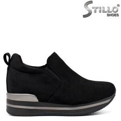 Pantofi dama din velur de culoare negru si cu platforma - 33511