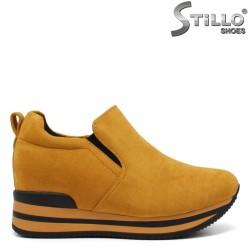 Pantofi dama de culoare galben cu platforma ascunsa - 33512