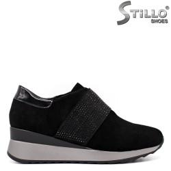Pantofi dama sport din velur si cu pietricele - 33517