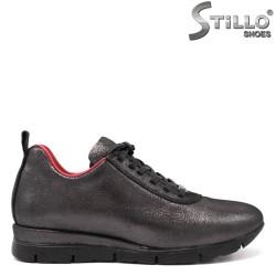 Pantofi dama sport din piele naturala de culoare bronz - 33542