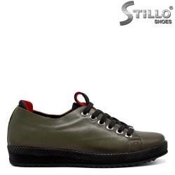 Pantofi dama sport de culoare verde din piele naturala - 33544