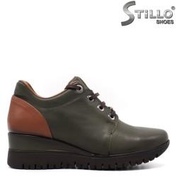 Pantofi dama sport de culoare verde si cu platfornma mijlocie - 33548