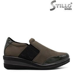 Pantofi dama sport din velur si lac  de culoare verde  - 33555