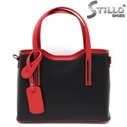 Geanta dama din piele de culoare negru si cu manere de culoare rosu - 33576