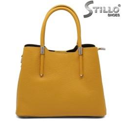 Geanta dama din piele naturala de culoare galben - 33577