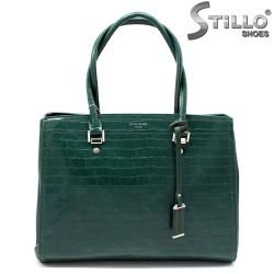 Geanta dama de culoare verde cu stampa - 33586
