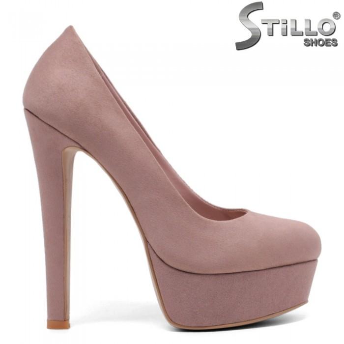 Pantofi dama cu platforma si toc de culoare scrum de trandafiri - 33595