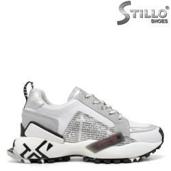 Pantofi dama sport de culoare alb si gri - 33598