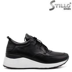 Pantofi dama sport din piele naturala de culoare negru - 33608