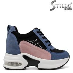 Pantofi dama sport cu platforma de culoare roz si albastru - 33615