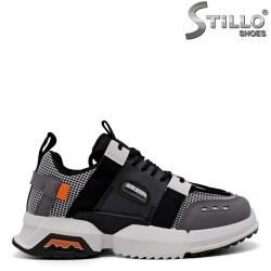 Pantofi dama din piele naturala si plasa din textil - 33642