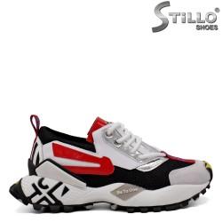 Pantofi dama sport de culoare alb,negru si rosu - 33663