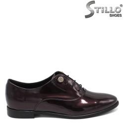 Pantofi dama de culoare bordeux cu toc jos - 33671
