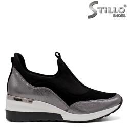 Pantofi dama tip sport de culoare argintiu si negru - 33683