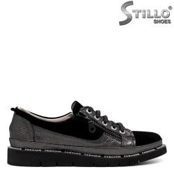 Pantofi dama sport din velur de culoare negru si  piele  - 33699