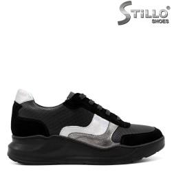 Pantofi dama sport cu talpa groasa din velur si piele - 33732