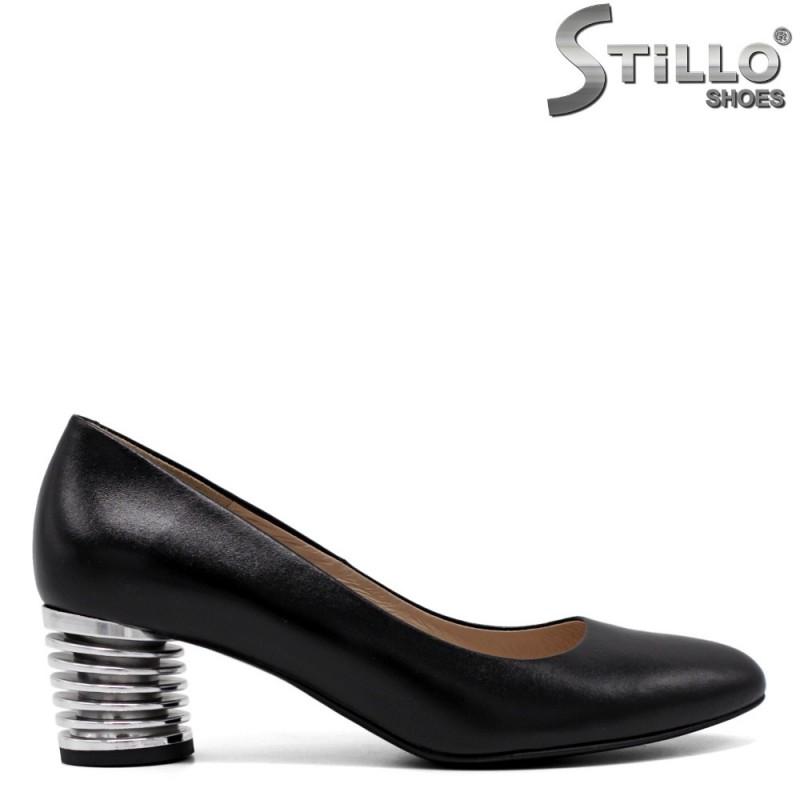 Pantofi dama cu toc mijlociu metalic - 33753