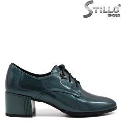 Pantofi dama de culoare verde cu sireturi si cu toc mijlociu - 33770