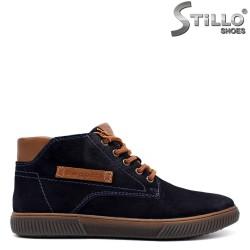Pantofi barbati din velur naturala de culoare albastru - 33775