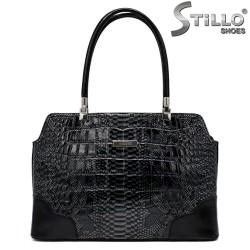 Geanta dama de culoare negru cu imprimanta croco  - 34139