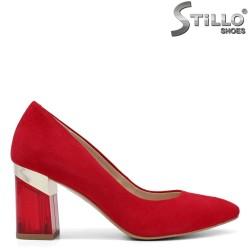 Pantofi dama din velur natural de culoare rosu si cu toc inalt gros - 34190