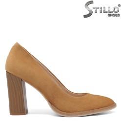 Pantofi dama camel cu toc din lemn inalt - 34191