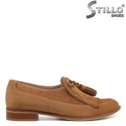 Pantofi dama din velur natural de culoare camel - 34192