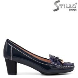 Mocasini dama de culoare albastru cu toc mijlociu - 34204
