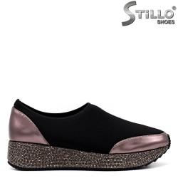 Pantofi dama sport din strech de culoare negru si decorate cu pietricele - 34232
