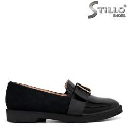 Pantofi dama din velur si lac cu toc jos - 34235