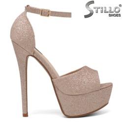 Sandale dama de ocazie de culoare roz cu brocat - 34266
