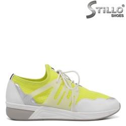 Pantofi sport de culoare alb si galben si cu sireturi - 34277