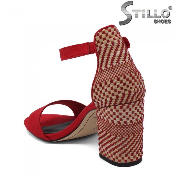 Sandale dama de culoare rosu cu toc inalt de efect - 34279