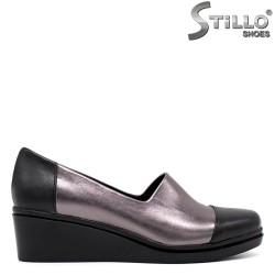 Pantofi dama cu platforma de culoare negru si bronz - 34293