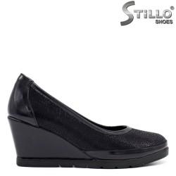 Pantofi dama de culoare albastru cu toc inclinat - 34294